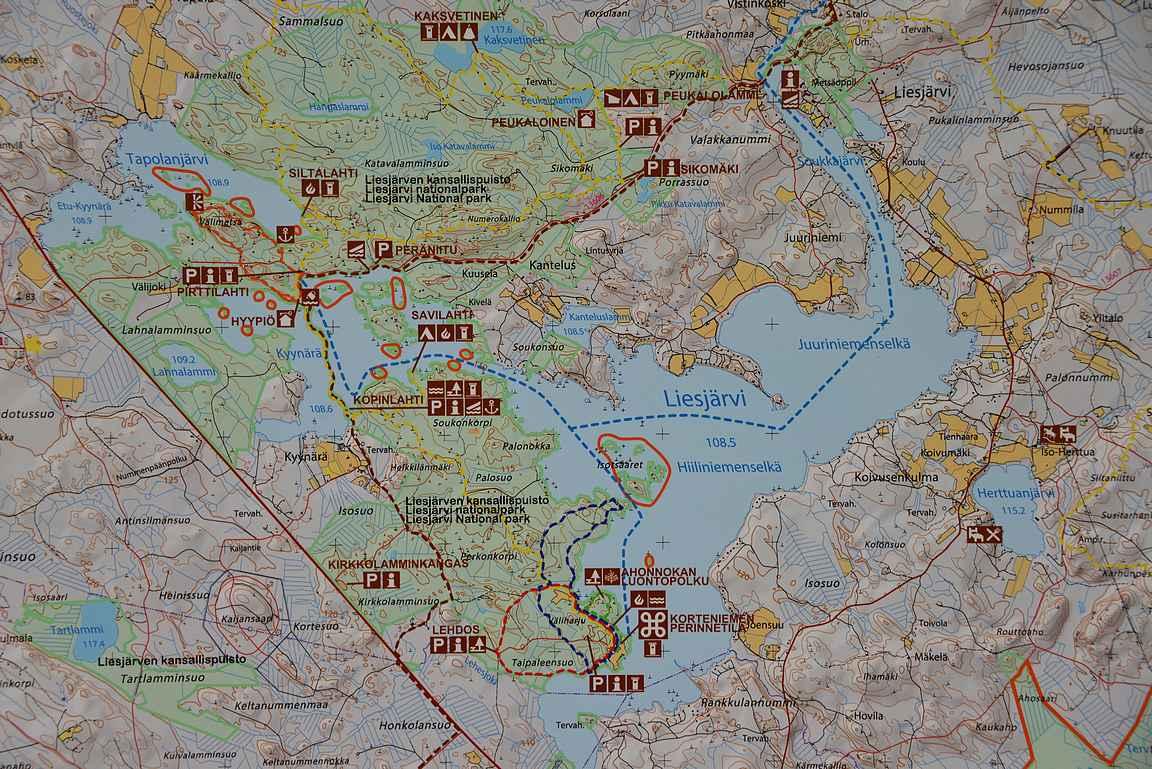 Liesjärven kansallispuisto kartta