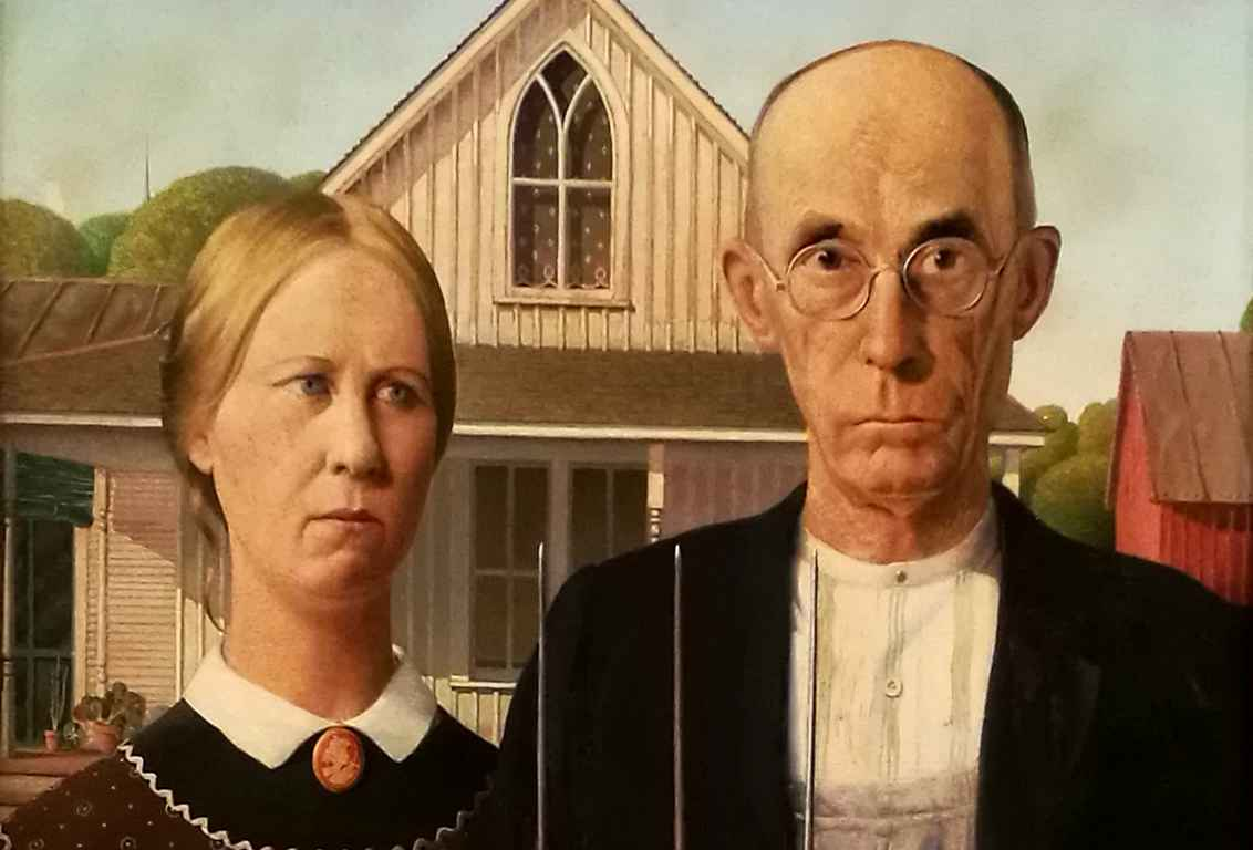 Frank Woodin American Gothic on museon tunnetuimpia teoksia.