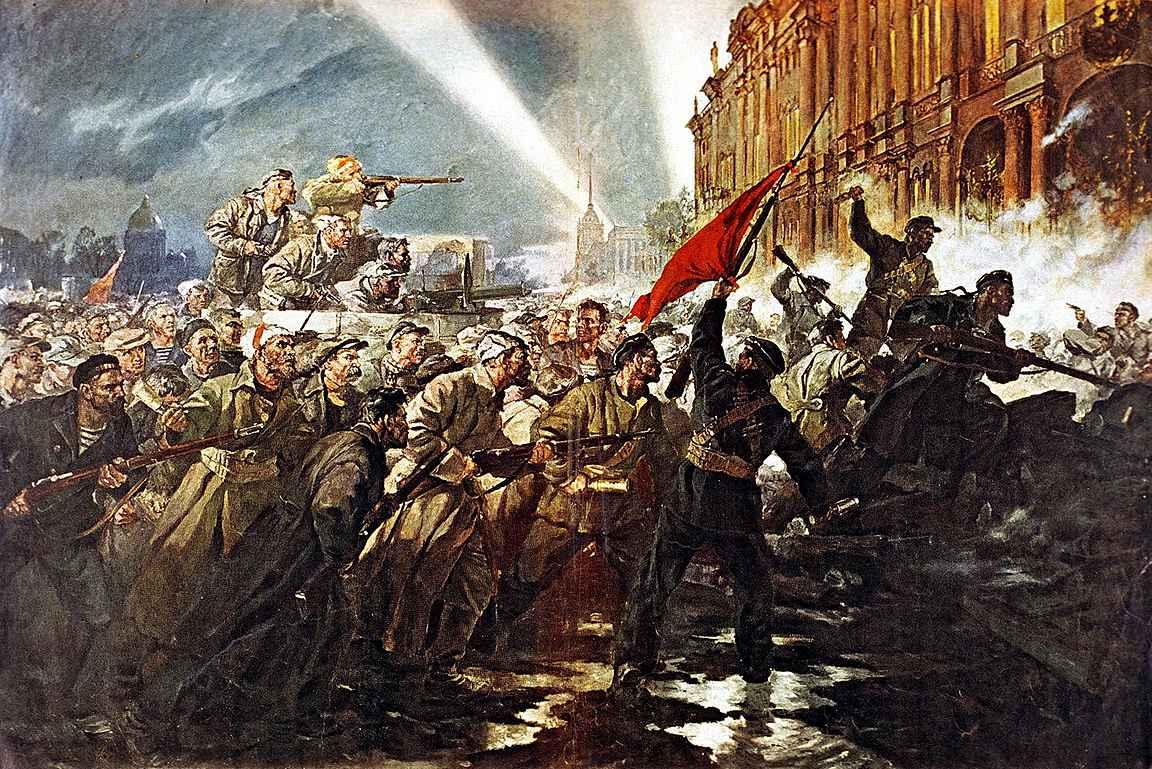 Bolshevikit valtaavat Talvipalatsin Petrogradissa eli nykyisessä Pietarissa lokakuun vallankumouksessa. © Ullstein/IBL