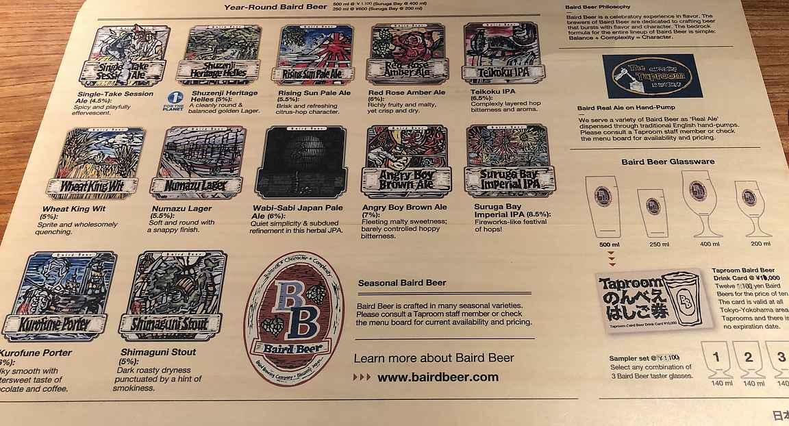 Baird Beer Companyn olutlista on varsin selkeä annoskokoja myöten.