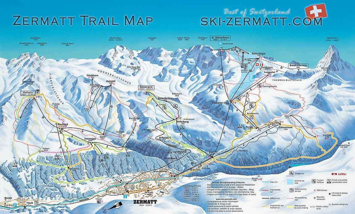 Zermatt rinnekartta
