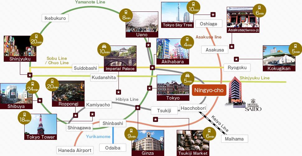 Tokion kaupunginosat ja matka-aikoja. Copyright Hotel Saibo