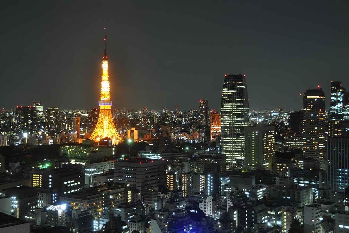 Roppongin tunnusmerkki on Tokyo Tower.