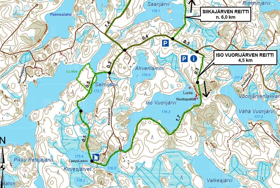Iso Vuorijärven reitti (napsauta kuvaa avataksesi isomman kartan).
