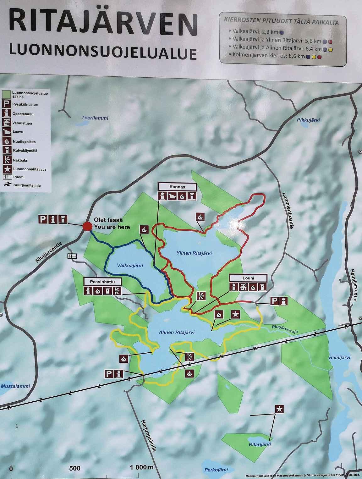 Ritajärven luonnonsuojelualueen reittikartta.