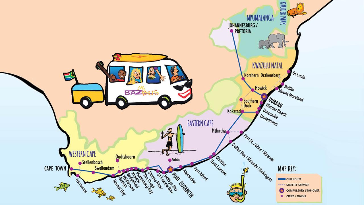 Baz Bus nykyinen reittikartta. Kymmenen vuotta takaperin oli mahdollisuus valita myös Lesotho ja Swazimaa reittivaihtoehdoksi rannikolta kohti Krugeria ja Johannesburgia.