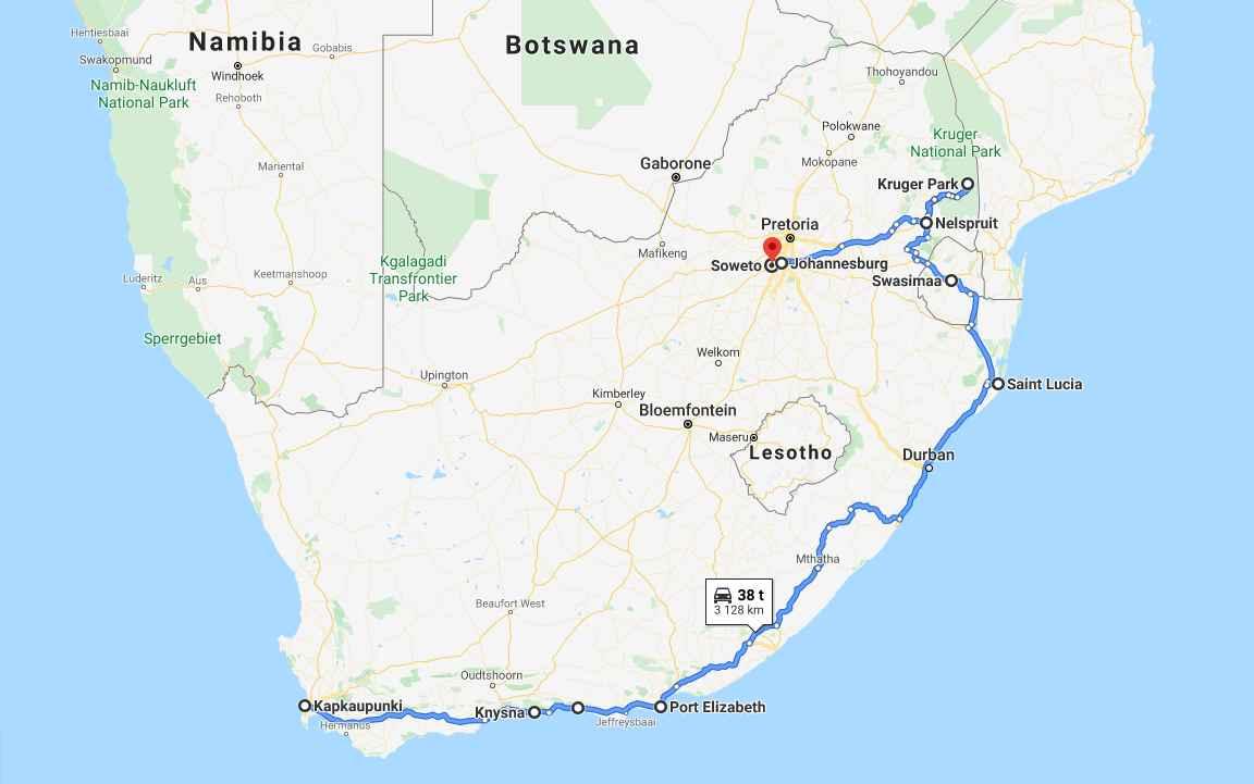 Etelä-Afrikan kiertomatka (napsauta kuvaa avataksesi kartta Google Mapsiin)