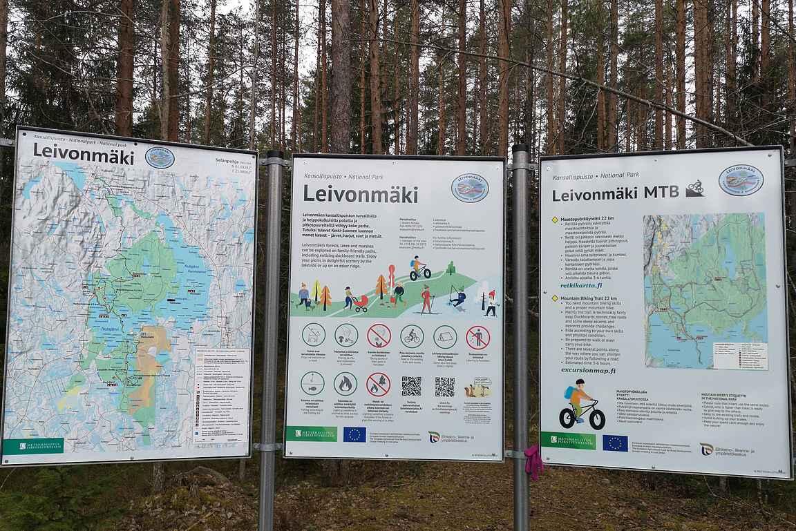 Leivonmäen kansallispuisto tarjoaa monipuolisia reittivaihtoehtoja.