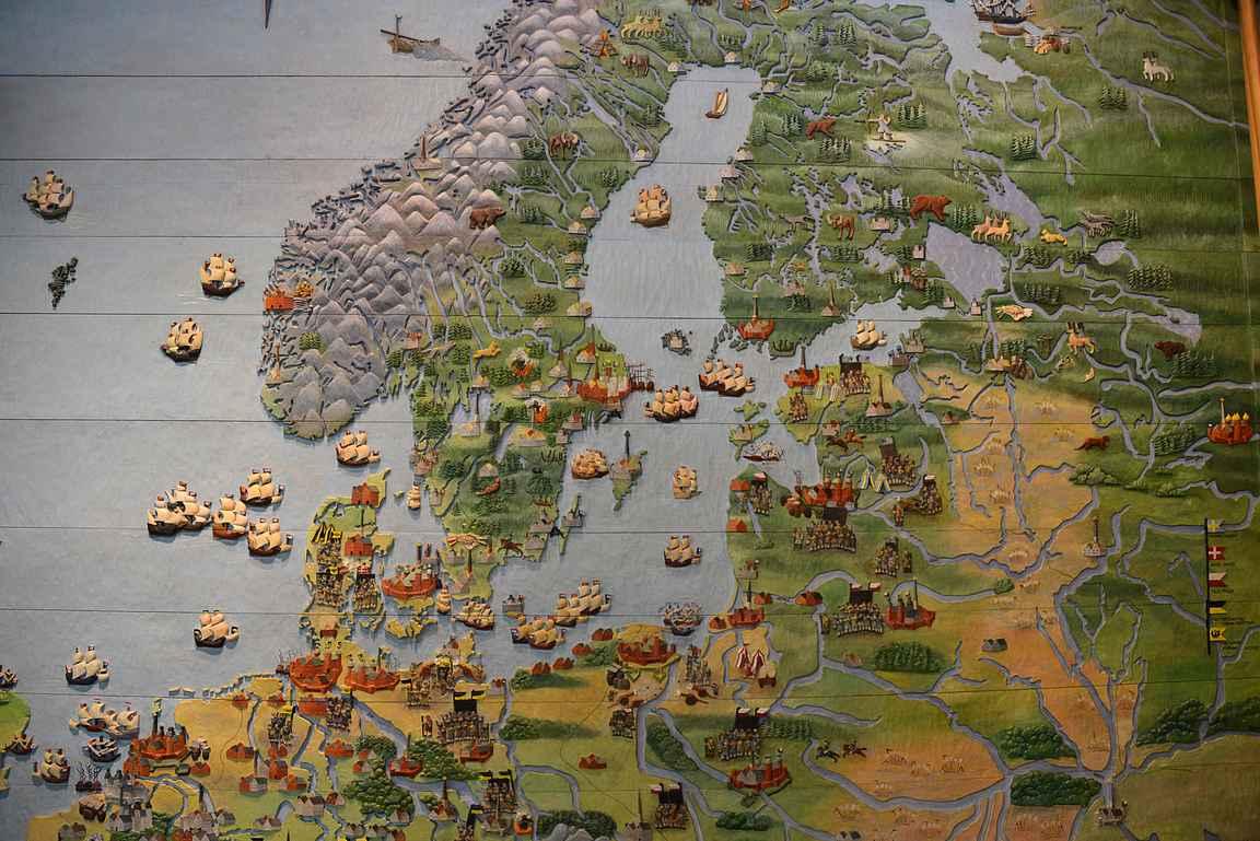 Kartta esiin ja tutkimaan maailmaa. Tämä kartta löytyy Tukholman Vasa-museosta.
