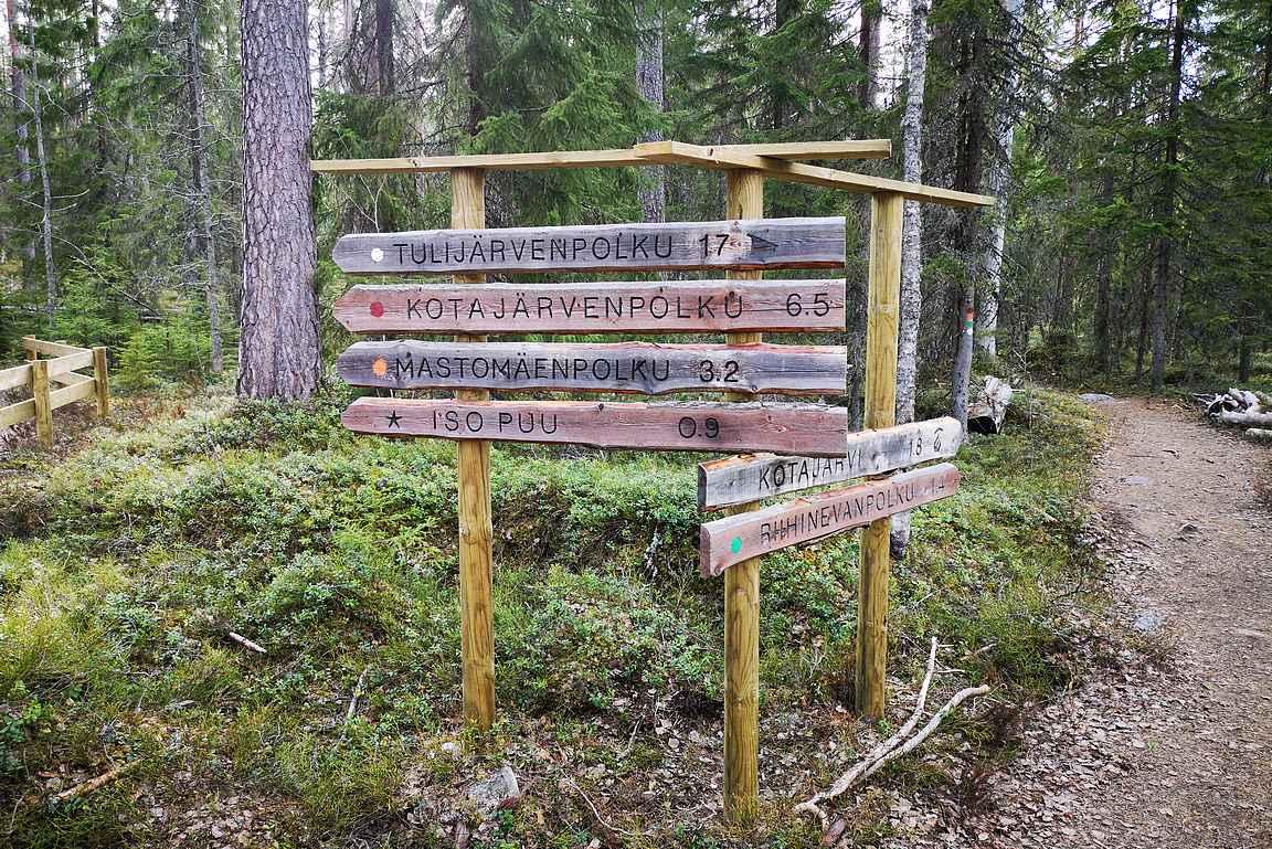 Pyhä-Häkin kansallispuiston parkkipaikalta lähtee kaikki ympärysreitit.