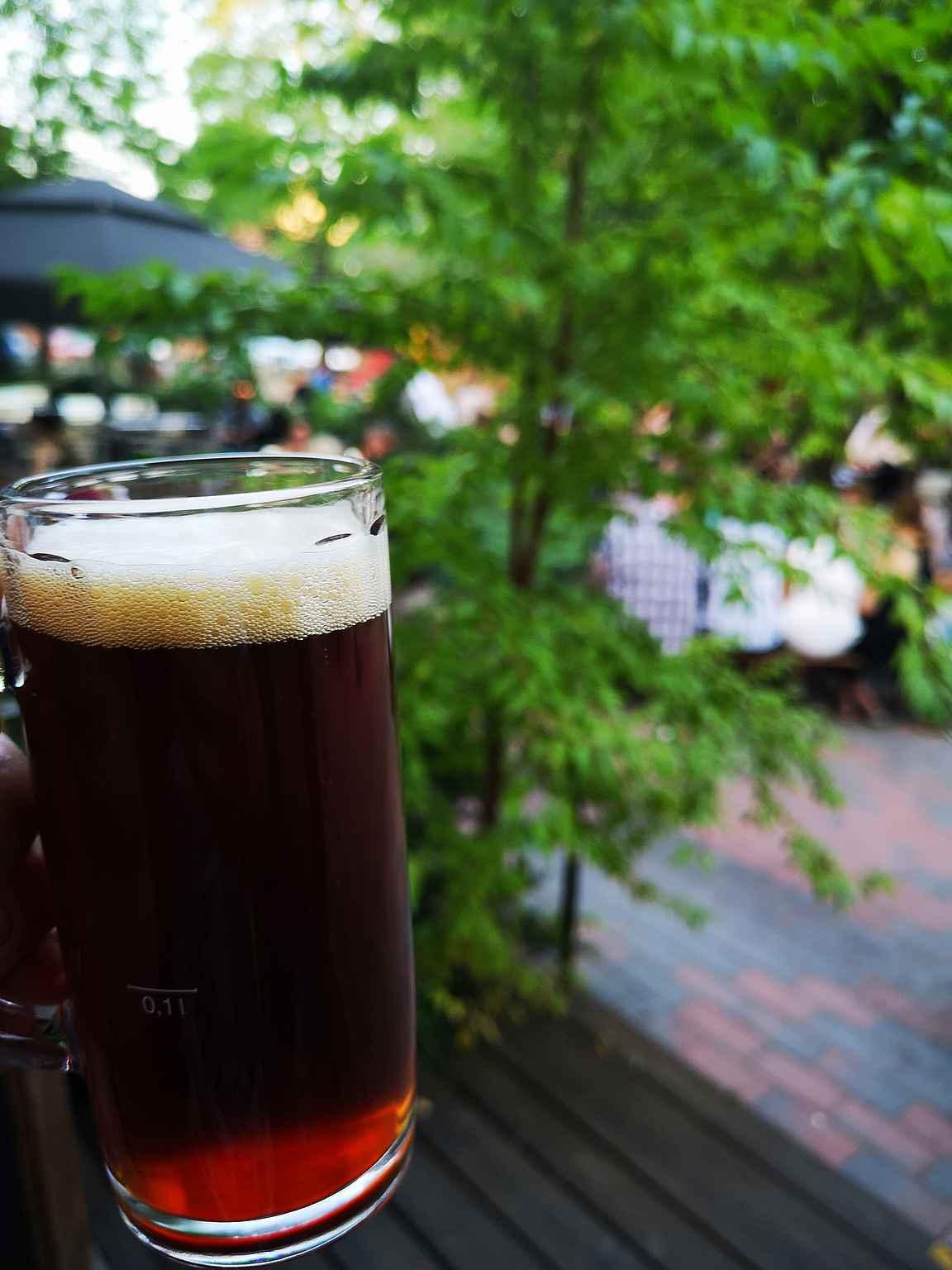 Panimoravintola Koululla on Suomen paras olutpuutarha eli biergarten.