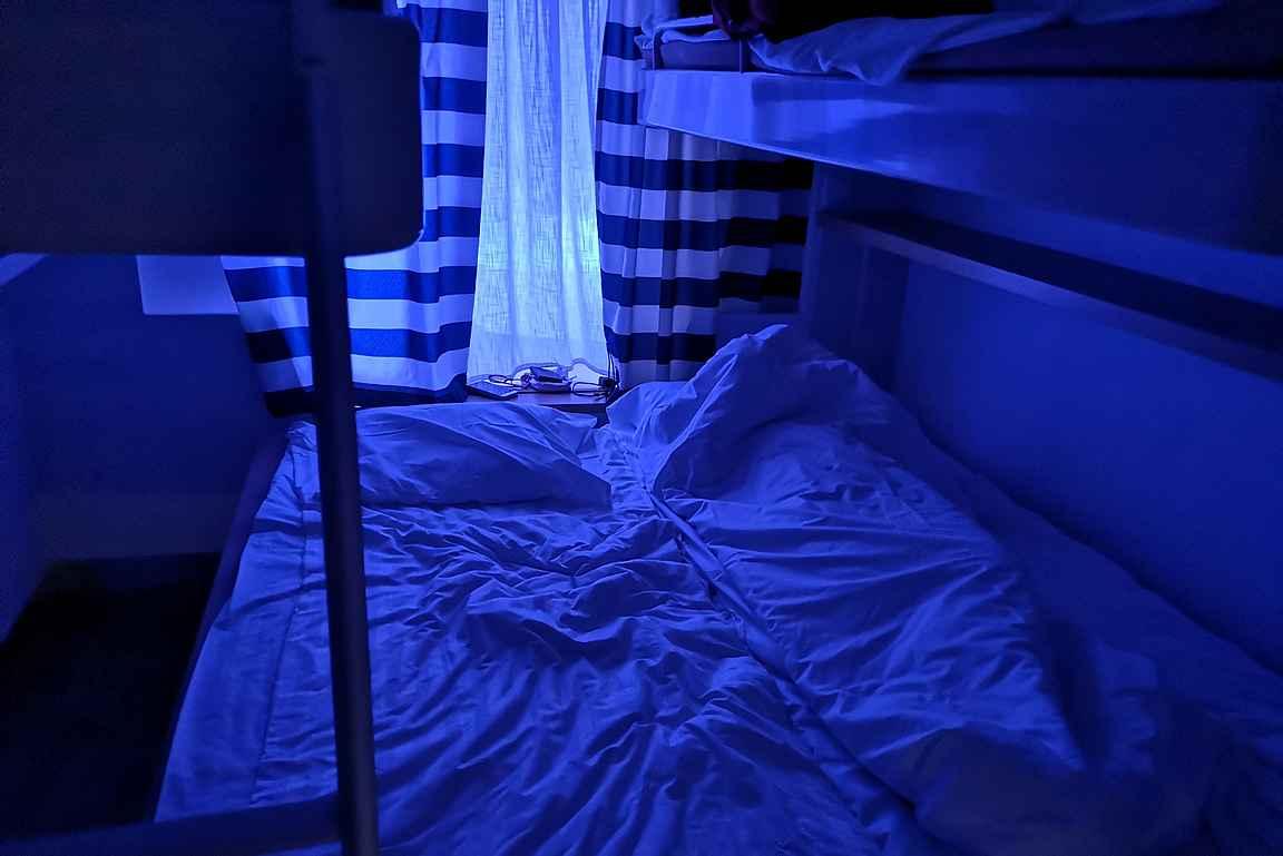 Maittavan illallisen jälkeen oli mukava mennä nukkumaan kerrankin kunnon yöunet laivalla - yleensä ei malta.