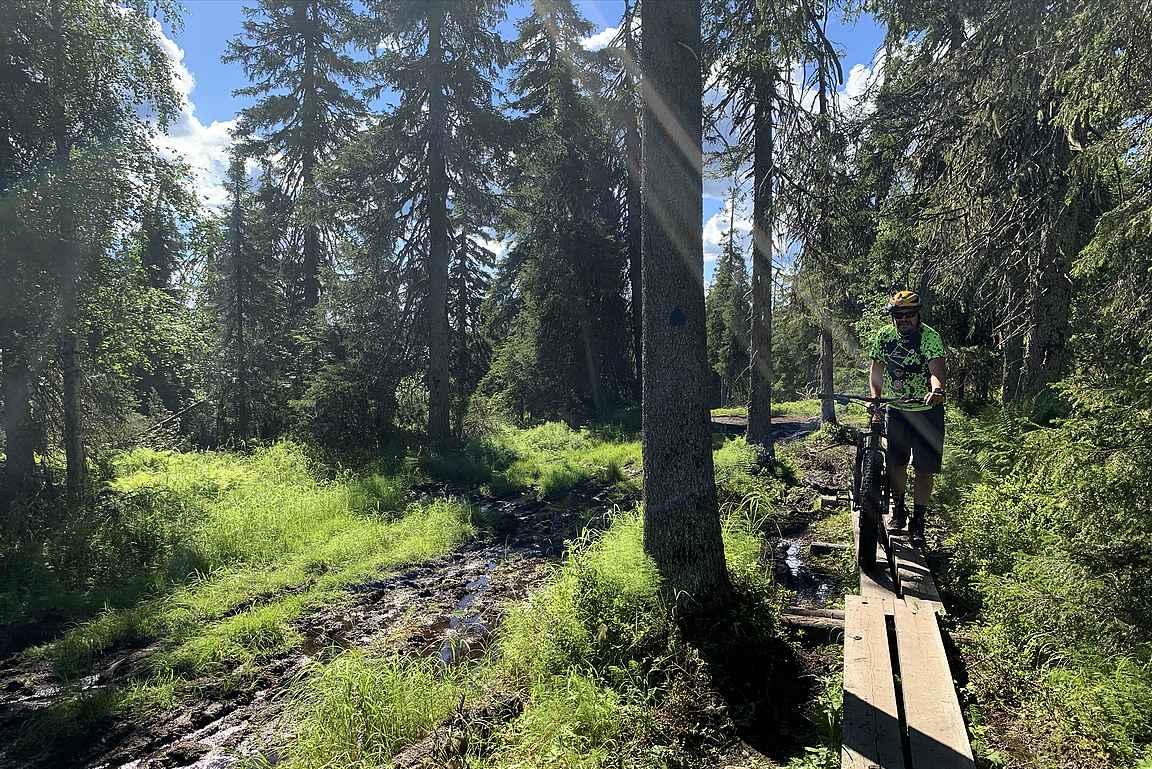 Muutaman putoamisen jälken mutaan otin pyörän pitkillä osuuksilla suosiolla talutukseen.