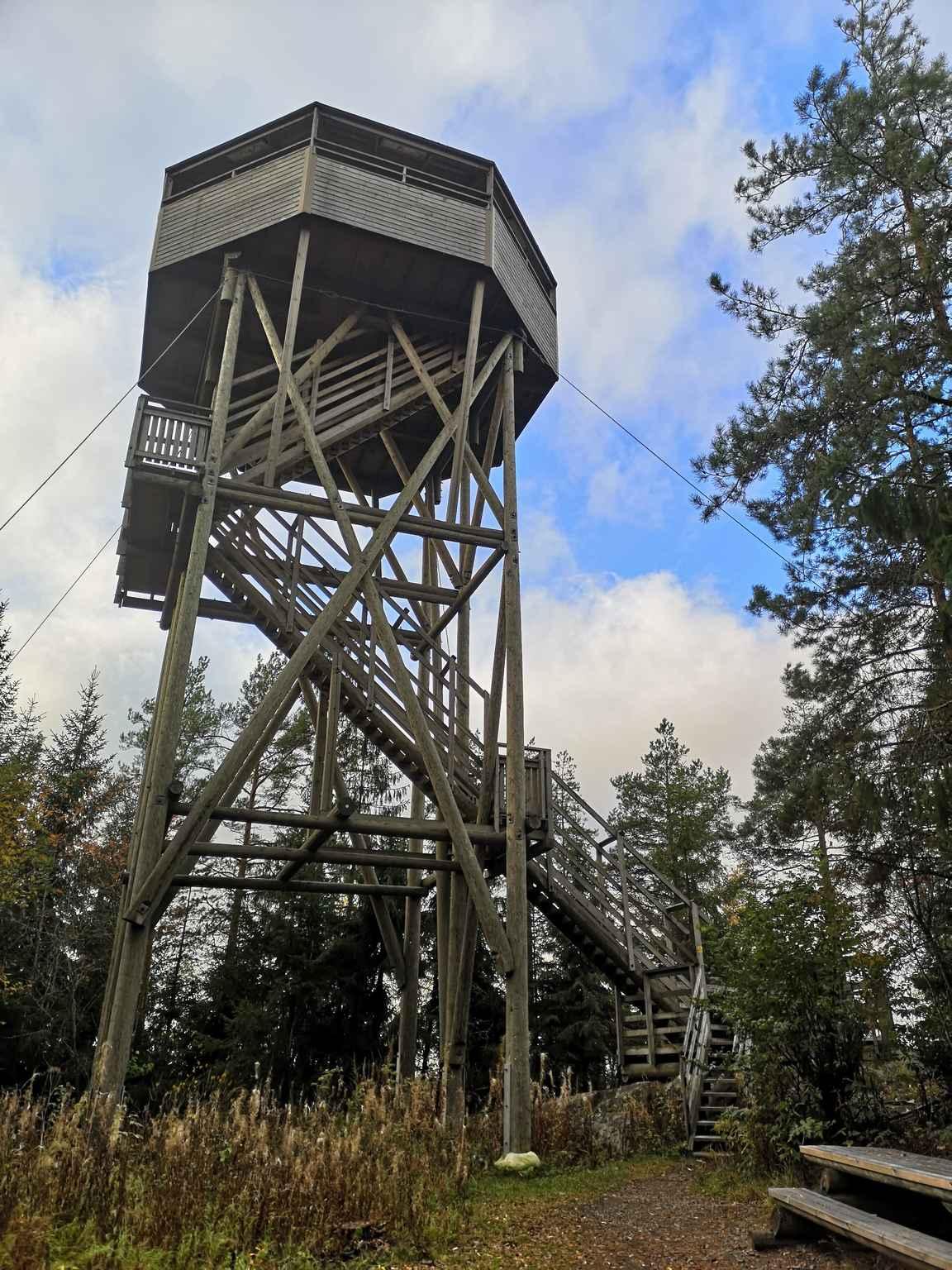 Kärjenkallion 18 metriä korkea lintutorni on Pohjoismaiden korkeimpia.