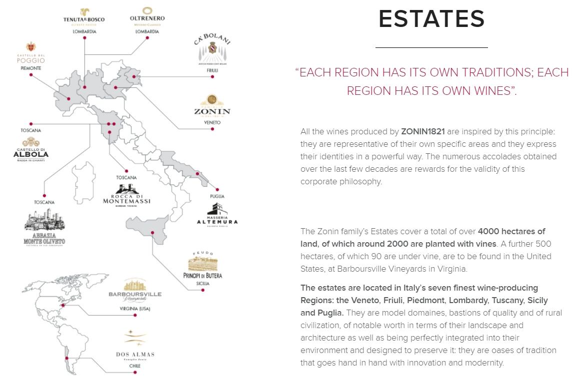 Zonin1821 viinitilat Italiassa ja Amerikassa.