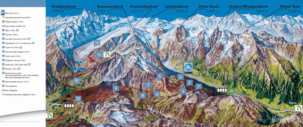 Grossglockner Hochalpenstrasse - itse ajoimme reitin numeroiden mukaan väärinpäin etelästä pohjoiseen.