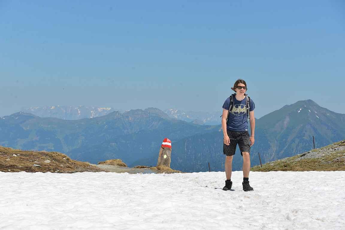 Miesbichlsharte oli taitekohta, missä vaihdettiin vuorijonon puolta lumisessa maastossa.