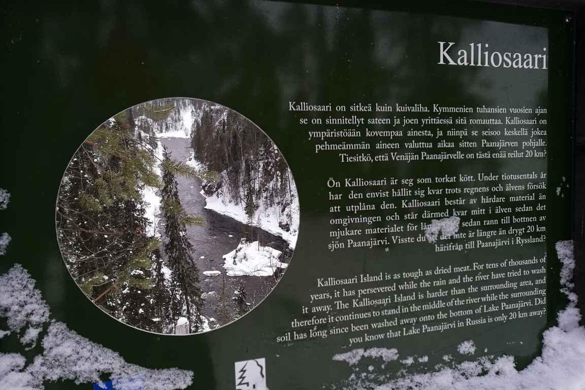 Kalliosaari - Pienellä Karhunkierroksella on kivat taulut kuuluisimmille koskinäkymille.