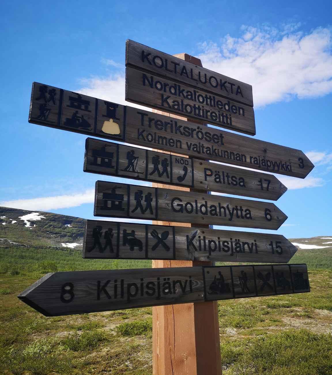 Patikoiden Kilpisjärvelle Koltalahdesta on 15 kilometriä, hiihtäen puolta vähemmän.
